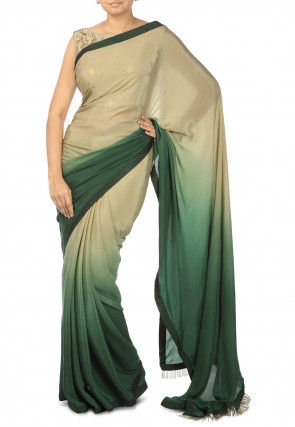 Ombre Pure Crepe Saree in Shaded Beige and Green