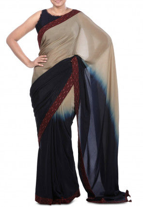 Ombre Pure Crepe Saree in Shaded Beige and Navy Blue