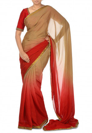 Ombre Pure Crepe Saree in Shaded Beige and Red