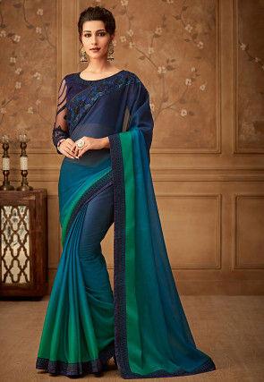 Ombre Satin Chiffon Saree in Blue