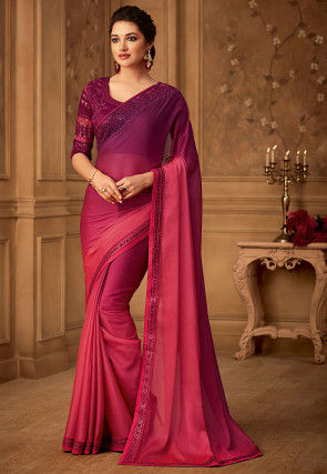 Ombre Satin Chiffon Saree in Fuchsia