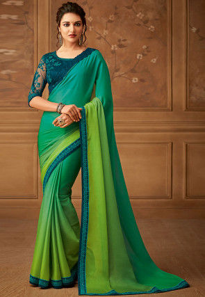 Ombre Satin Chiffon Saree in Green
