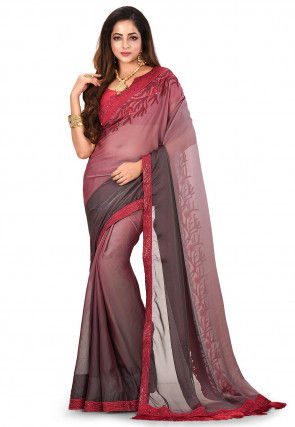 Ombre Satin Chiffon Saree in Red and Grey