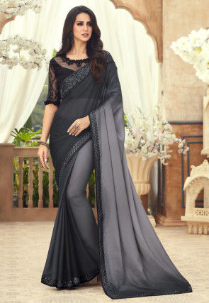 Ombre Satin Georgette Saree in Black and Grey