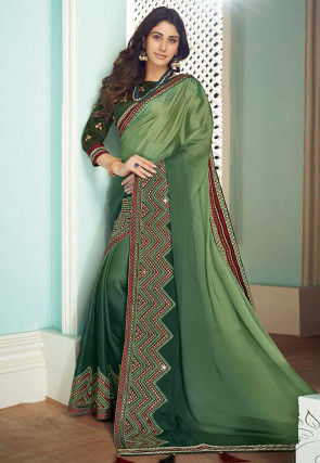 Ombre Satin Georgette Saree in Green Ombre