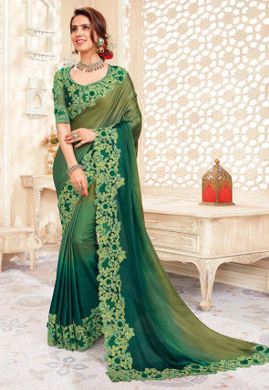 Ombre Satin Georgette Saree in Green