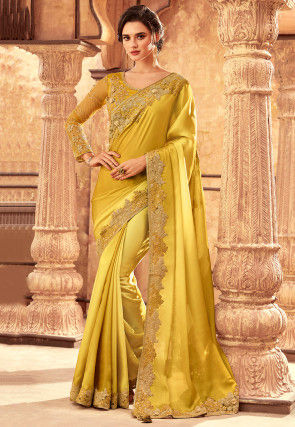 Ombre Satin Georgette Saree in Light Olive Green