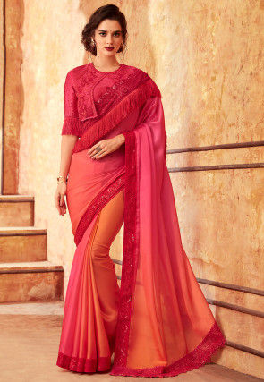 Ombre Satin Georgette Saree in Pink and Orange