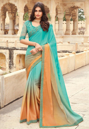 Ombre Satin Georgette Saree in Shaded Blue and Orange