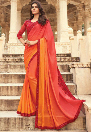 Ombre Satin Georgette Saree in Shaded Coral Red and Orange