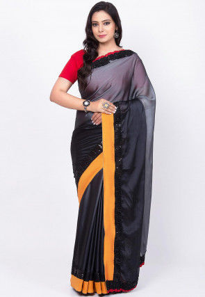 Ombre Satin Georgette Saree in Shaded Grey and Black