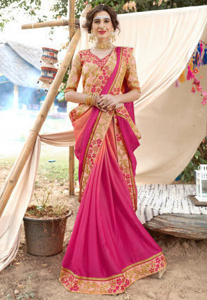 Ombre Satin Georgette Saree in Peach and Pink