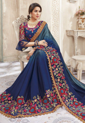 Ombre Satin Georgette Saree in Teal Blue and Navy Blue