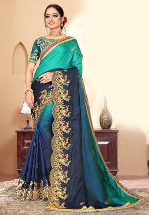 Ombre Satin Georgette Scalloped Saree in Blue