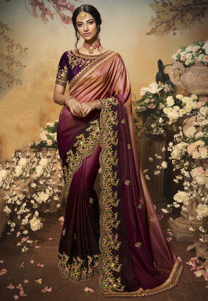 Ombre Satin Saree in Peach and Wine