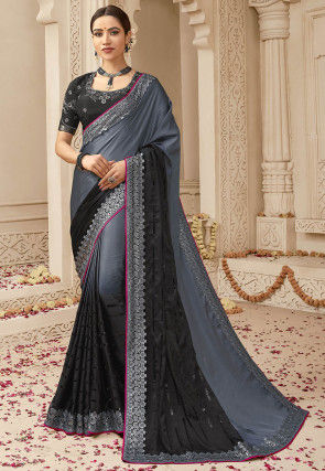 Ombre Satin Saree in Shaded Grey and Black