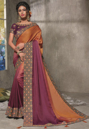 Ombre Satin Saree in Shaded Rust and Magenta