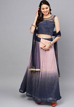 Ombre Viscose Rayon Lehenga in Pink and Navy Blue