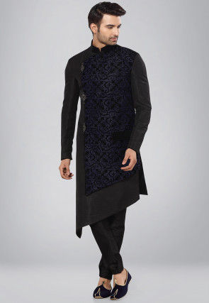Ornamental Printed Art Silk Kurta Set in Black and Navy Blue