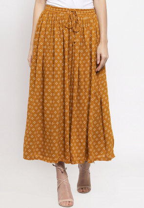 Ornamental Printed Viscose Rayon Skirt in Mustard