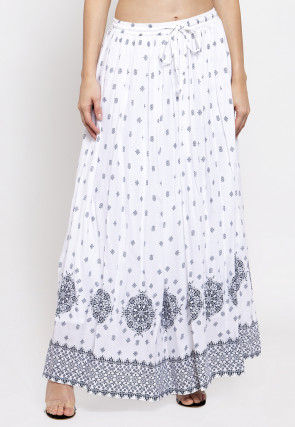Ornamental Printed Viscose Rayon Skirt in White