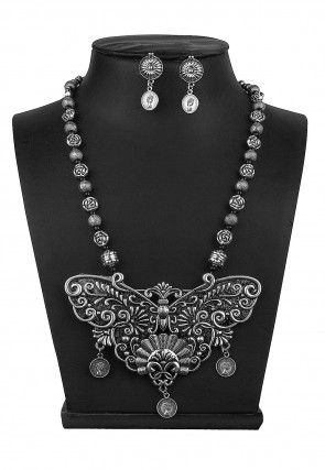 Oxidised Beaded Butterfly Style Necklace Set