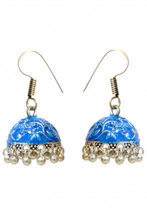 Oxidised Beaded Enamelled Jhumka Style Earrings
