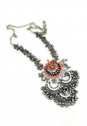 Oxidised Beaded Enamelled Long Necklace