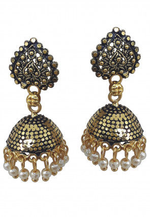 Oxidised Beaded Jhumka Style Earring