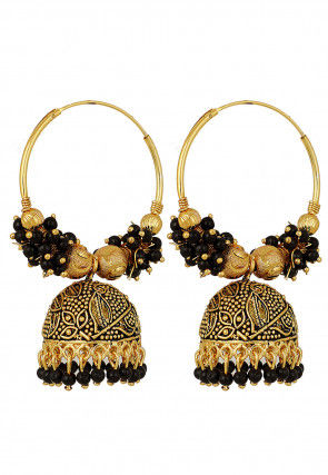 Oxidised Beaded Jhumka Style Earrings