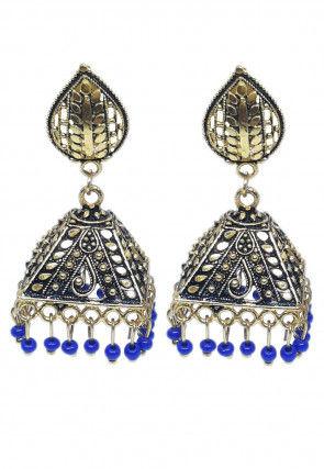 Oxidised Beaded Jhumka Style Earrings