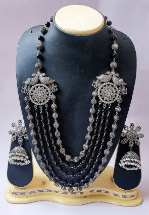 Oxidised Beaded Layered Necklace Set