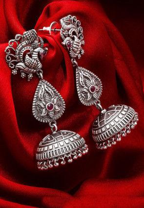 Oxidised Beaded Peacock Jhumka Style Earring