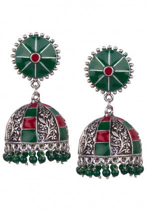 Oxidised Enamel Filled Jhumka Style Earrings