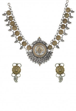 Oxidised Paisley Style Necklace Set