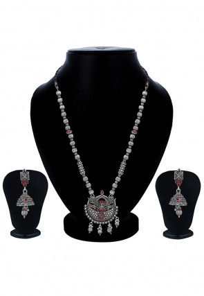 Oxidised Polki Studded Necklace Set