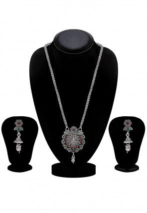 Oxidised Polki Studded Temple Necklace Set