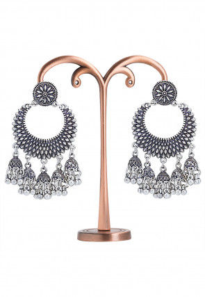 Oxidised Stone Studded Chandbali Earrings