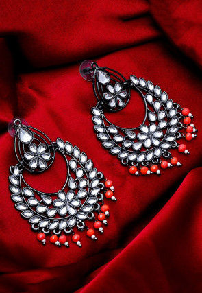 Oxidised Stone Studded Chandbali Earrings