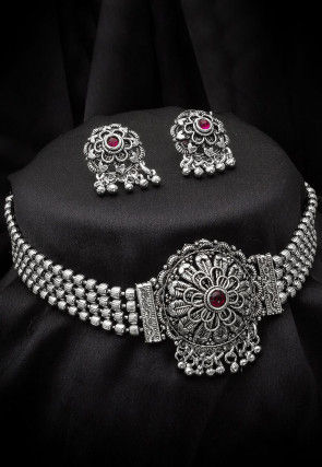 Oxidised Stone Studded Choker Necklace Set