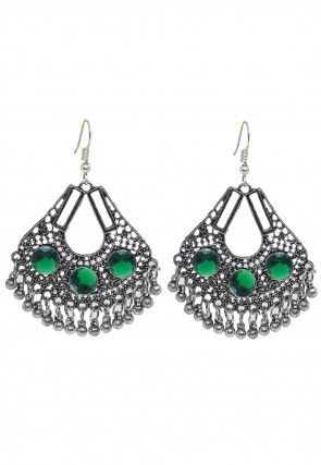 Oxidised Stone Studded Earrings