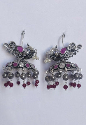 Oxidised Stone Studded Jhumka Style Earrings