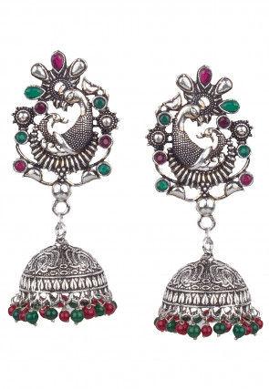 Oxidised Stone Studded Jhumka Style Earrings