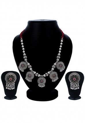 Oxidised Stone Studded Necklace Set