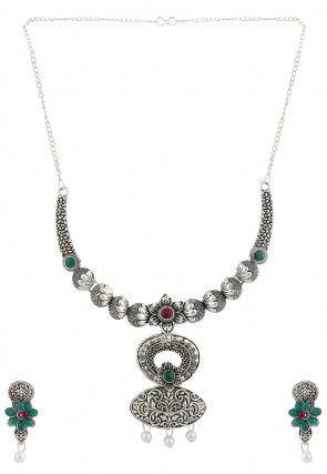 Oxidised Stone Studded Necklace Set