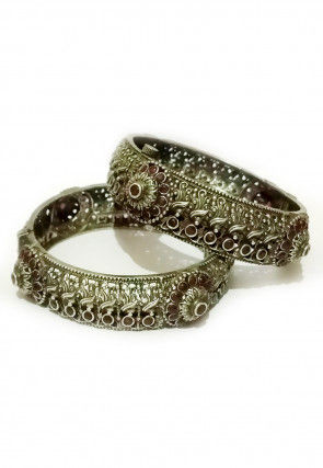 Oxidised Stone Studded Openable Bangle Pair
