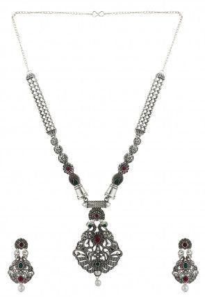 Oxidised Stone Studded Peacock Style Necklace Set