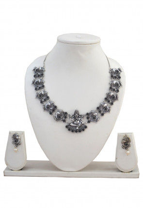 Oxidised Stone Studded Temple Necklace Set