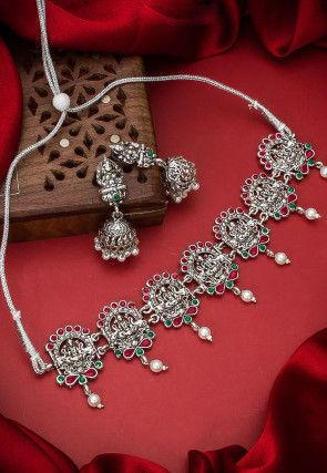 Oxidised Stones Studded Choker Necklace Set