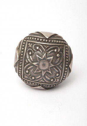 Oxidized Carved Silver Look A Like Adjustable Ring